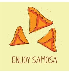 Samosa icon Eastern cuisine Hand drawn vector image