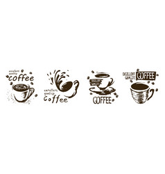 set drawn coffee cup logos on white vector image