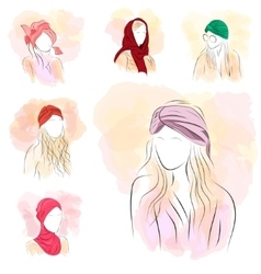 Set of six silhouette woman in turban vector