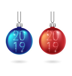 set shiny christmas and blue ball isolated vector image