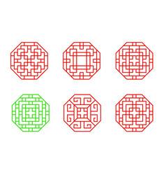Set stencil chinese octagon window frame vector