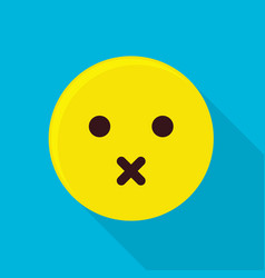 Silent emoticon icon flat style vector