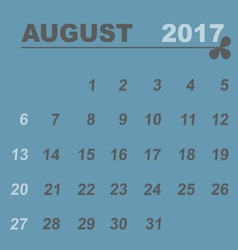 Simple calendar template of august 2017 vector image
