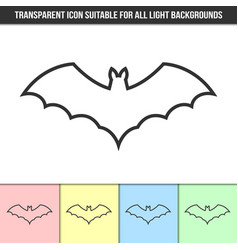 simple outline transparent bat icon on different vector image