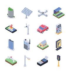 Smart city isometric icons vector