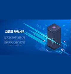 Smart speaker concept banner isometric style vector