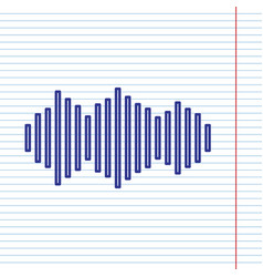 sound waves icon navy line icon on vector image
