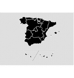 spain provinces map - high detailed black map vector image