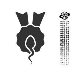 Sperm winner icon with work bonus vector