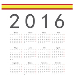 Square spanish 2016 year calendar vector