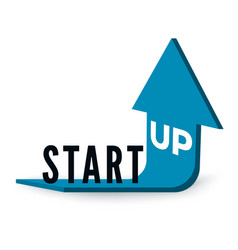 start up business concept text start up on blue vector image