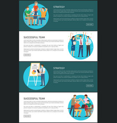 Strategy successful team cards vector