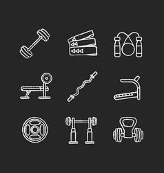 strength training chalk white icons set on black vector image