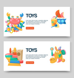 Toy shop for babies banners vector