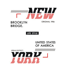 typography design new york for t shirt print men vector image
