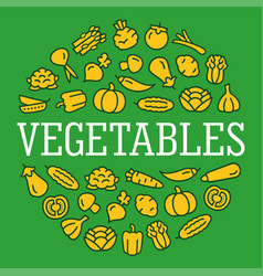 Vegetables color icons in a circular shape vector