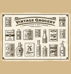 Vintage grocery set one color vector