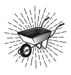 Wheelbarrow with rays vintage vector