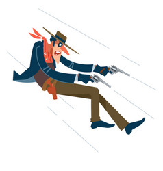 wild west cowboy in a shootout flat vector image