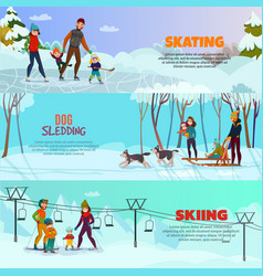 winter recreation banners set vector image