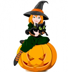 witch and cat vector image