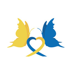 World down syndrome day butterflies with ribbon vector