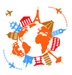 Worlds famous travel landmarks vector