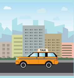 yellow taxi car in front city silhouette and vector image