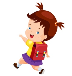 Cute girl back to school vector image