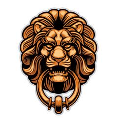 decoration of lion door knocker vector image