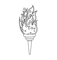 Grayscale contour with olympic torch flame vector