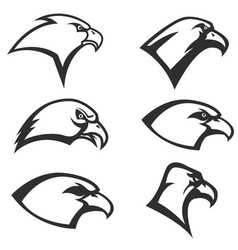 set of eagle heads icon isolated on white vector image