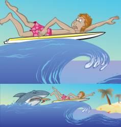 shark surf vector image