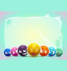 Cute childish banner with funny characters vector
