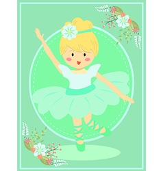 Cute Turquoise Ballerina Girl vector image