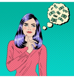 Girl Dreaming About Money Dreaming Woman vector image vector image