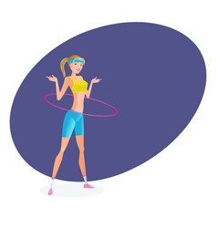 girl in summer sportswear engaged with hoop vector image