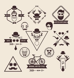 hipsters badges templates with place for your text vector image