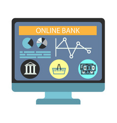 online banking payment computer monitor vector image