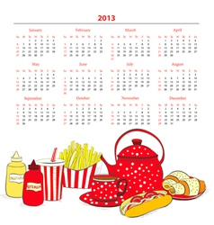 Calendar for 2013 with a lot of food vector image vector image