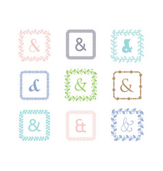 colorful ampersand square leaves border pattern vector image vector image