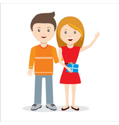 couple standing together with gift vector image