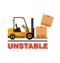 forklift truck moving dropping cardboard vector image