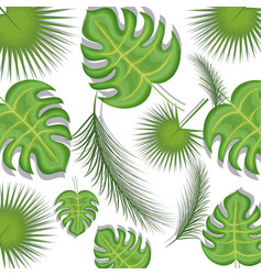 seamless pattern tropical leaves background vector image