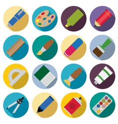 Set of flat painting icons vector image vector image