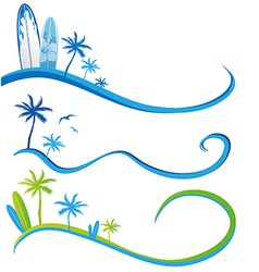 awawe background set with Palm Tree vector image vector image