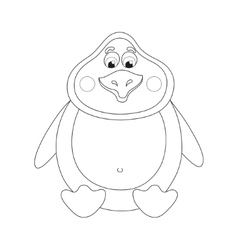 Cheerful cute penguin sits fat birdie has a rest vector image