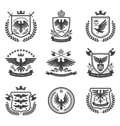 Eagle emblems icon set black vector image vector image