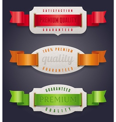 Labels of quality with color ribbon vector image