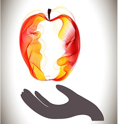 Red abstract apple and gray hand vector image vector image